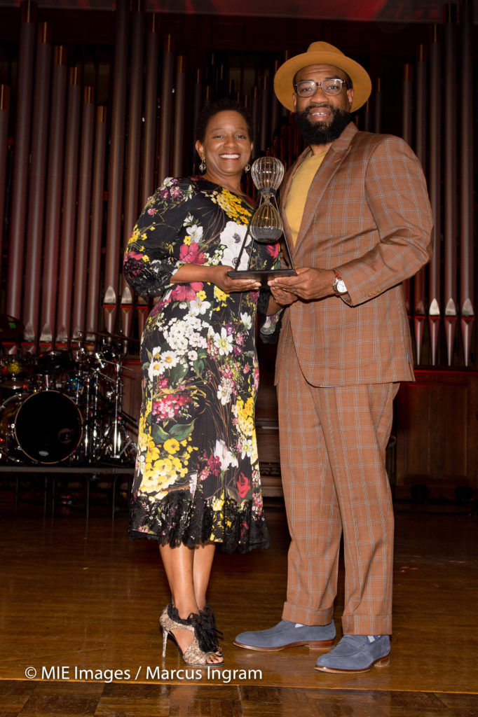 honoree Beverly Anderson with Awards producer Roderick Hardamon