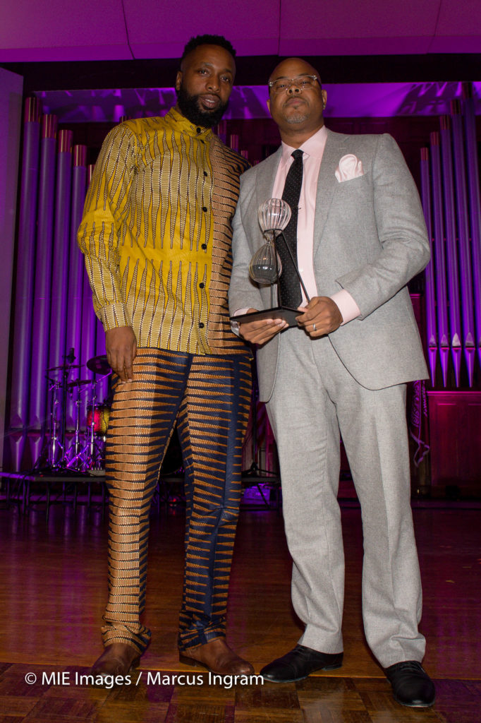 presenter Taiye Samuel with honoree Keinon Johnson