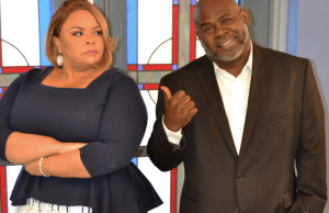 "Tamela Mann and David Mann on the set of TV One's ""Merry Wishmas"""